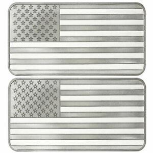 Lot of 3-1 Troy oz American Flag .999 Fine Silver Bar Sealed