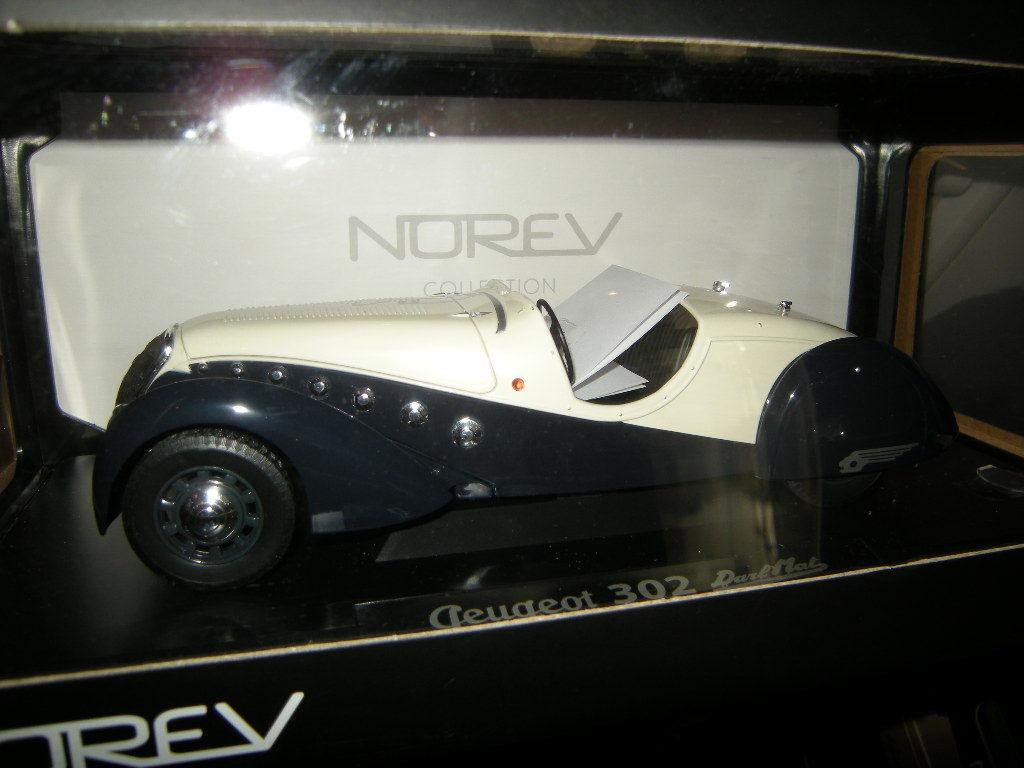 1 18 Norev Peugeot 302 Darl'Mat 1937 blue fonce et creme Nr. 184705 in OVP