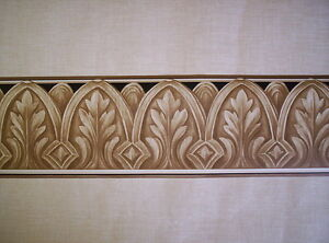 Crown molding style in browns and tan prepasted wallpaper border 85b64473 ebay - Crown molding wallpaper ...
