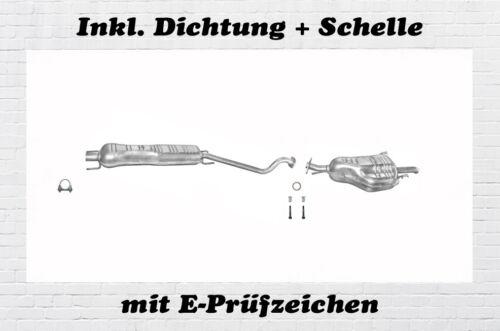 Opel Astra G CC 2.0 Di DTi Auspuffanlage Auspuff Endtopf Mitteltopf Schelle