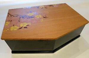 Antiques Motivated Vintage Oriental Box With Blossom Design