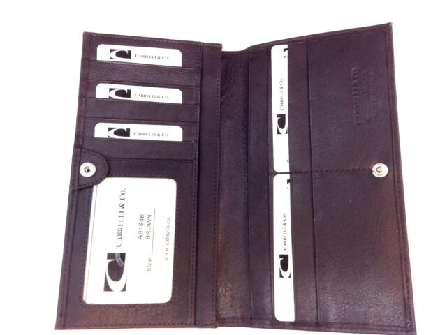 Men Italian Leather Long Breast Wallet Bifold  Cabrelli & Co Dark Brown