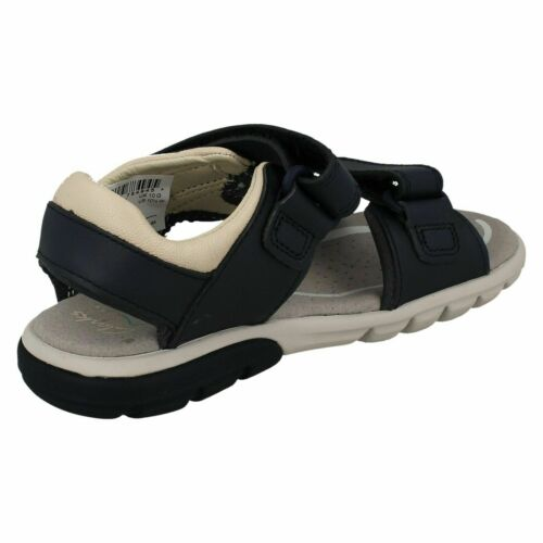 Boys Clarks Rocco Wave Brown Or Navy Leather Sandals