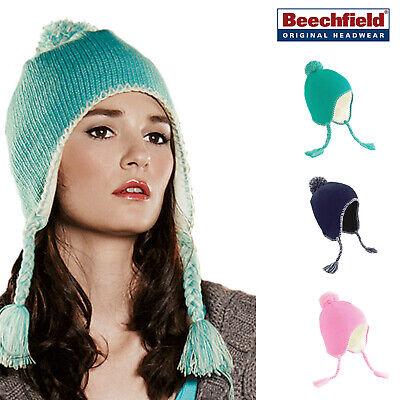 Beechfield Classico Nappa Perù Cappello Orecchio Flap Pon Pon E Fiocco Incrociato Unisex Cappello Invernale- Lustro