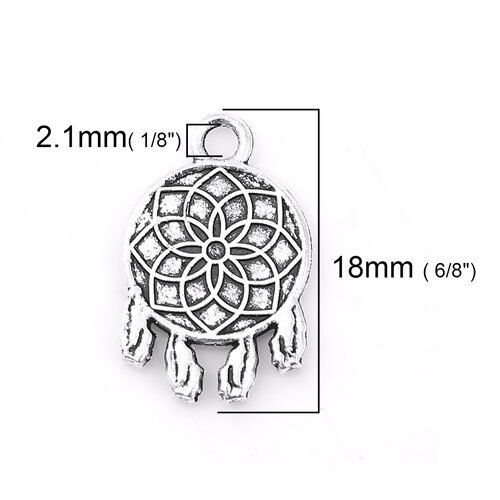 10 Dream Catcher Feather Charms Antique Silver Metal 18 x 12 mm Us Seller 494