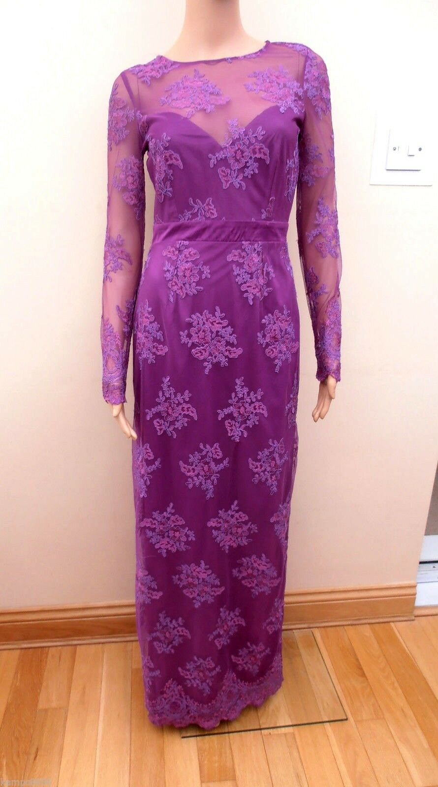 New  Lipsy VIP Purple Long Sleeve Lace Embroidered Maxi Dress Sz