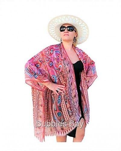Silk Kimono Robe, Boho Style Silk Cover up, Kimono Jacket, Plus Größe Kimon braun