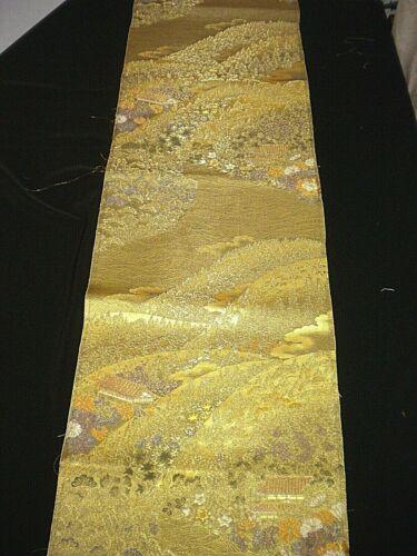 "scenery 12-1//2/"" x 35/"" f-799 vintage brocade silk obi fabric"