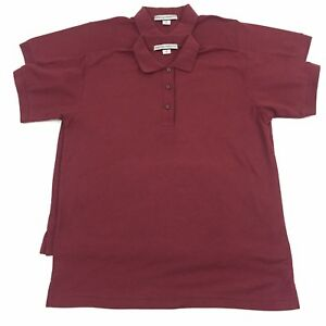 Details About 2 Port Authority Womens Size Small Burgandy Short Sleeve Polo Shirts F6