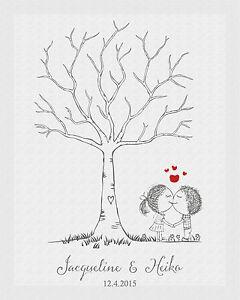 Fingerabdruck hochzeitsbaum leinwand weddingtree hochzeit mit stempelkissen ebay - Hochzeitsbaum leinwand ...