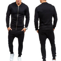 Mens Casual Zip Up Tracksuit Joggers Jacket Top Training Pants Sports Gym Bottom