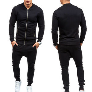 Homme survêtement pantalon jogging veste sport Fitness Gym Suit Ensemble Noir