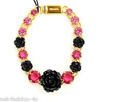 PRADA MILANO RESIN BLACK ROSES AND PINK CRYSTALS BRACELET BNWT BOX 100% AUTH