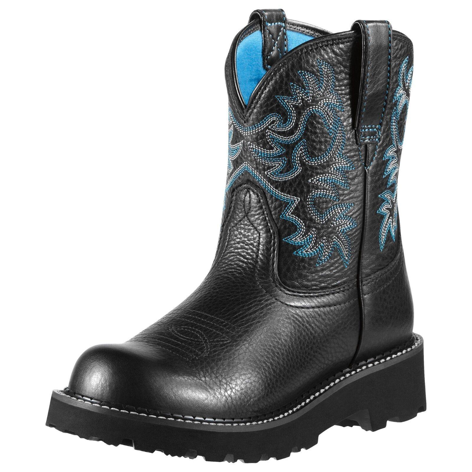 Ariat Womens Fatbaby Black Deertan Blue Liner 10000833 (New Style)