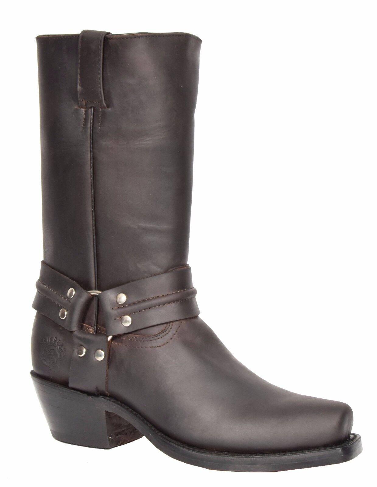 Mens Biker Boots Cowboy Brown Leather Slip On Square Toe Designer Grinders Boots