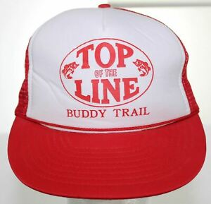 Vintage-Top-of-the-Line-Buddy-Trail-Fishing-Trucker-Hat-Red-amp-White-Snapback-Cap