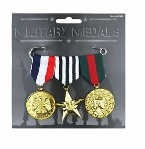 Set of 3 Military Medals Army Soldier War Hero Fancy Dress Costume Accessory