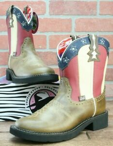 2c10462c1e0 Details about Justin Women's Chellie Stars and Stripes Cowgirl Boots  Leather Size 8 B