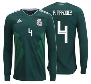 2008623b378 ADIDAS RAFAEL MARQUEZ MEXICO LONG SLEEVE HOME JERSEY WORLD CUP 2018 ...