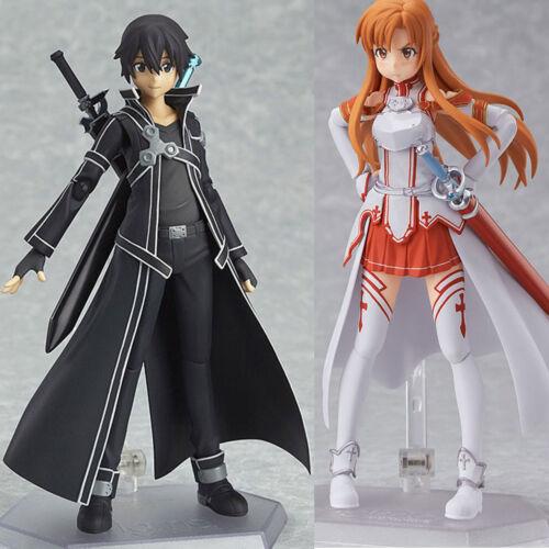 2Pcs New Sword Art Online SAO Asuna Kirito PVC Action Figure Figma Figurine Toys