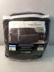 mainstays 1 piece stretch fabric sofa slipcover charcoal ebay rh ebay com