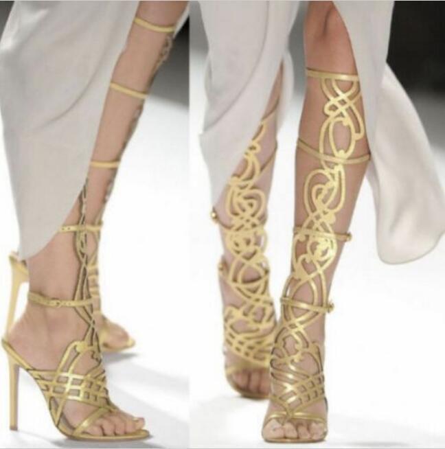 Gladiator pour Femme Sexy Genou Bottes Lanières Talon Haut Sandales Stiletto Chaussures Clubwear