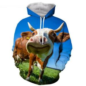 Men-Women-3D-print-funny-cow-Expression-Hoodie-Casual-Sweatshirt-Pullovers-Tops