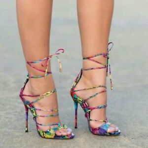 Ladies-High-Heel-Snake-Print-Stiletto-Peep-Toe-Strappy-Sandals-Lace-Up-Sexy-Shoe