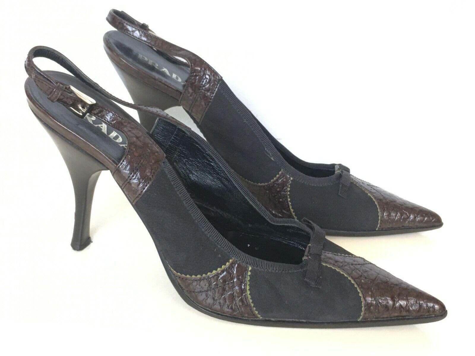 Prada Texted Leather  Sue de Slingback scarpe Sz 40   10 M Pups Pointed Marronee  punti vendita