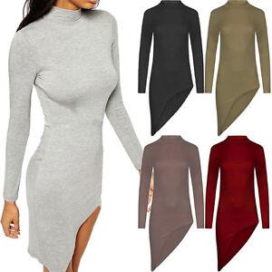 Ladies-Asymmetric-Curve-Hem-Turtle-Polo-High-Neck-Mini-Bodycon-Dress-Long-Sleeve