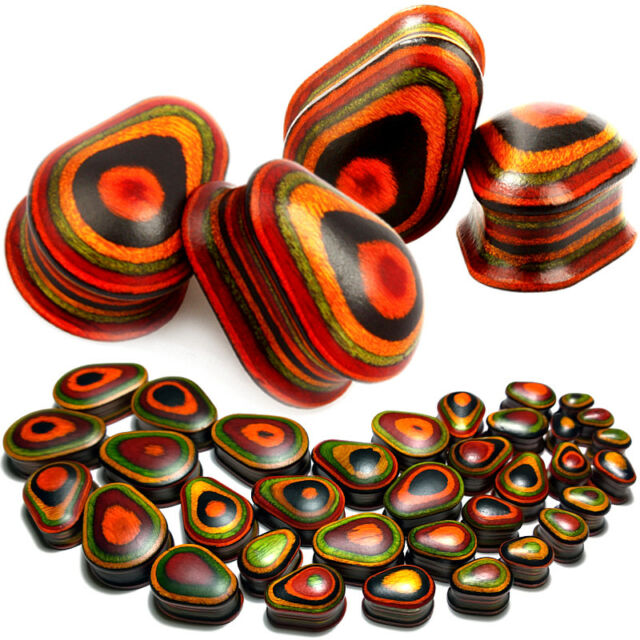 Pair Teardrop Colorful Wood Ear Plugs-Flesh Tunnels-Saddle Fit Gauges 9/16 inch