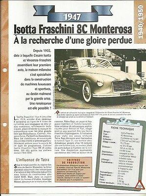 Voiture Isotta Fraschini 8c Monterosa Fiche Technique Automobile 1947 Car Domanda Che Supera L'Offerta
