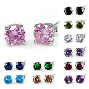 a01265ff2 Image is loading 8mm-Rainbow-Colorful-Round-Sapphire-Earrings-Silver-Stud-