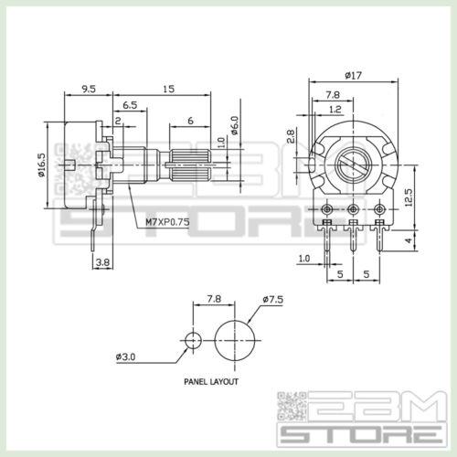 2,2k potentiometer logarithmic Potentiometers encoders Article p016