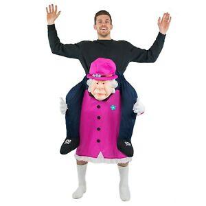 Adulto Divertente REGINA ELISABETTA Carry Ride on Fancy Dress Costume Outfit Addio Al Celibato Nubilato Fare