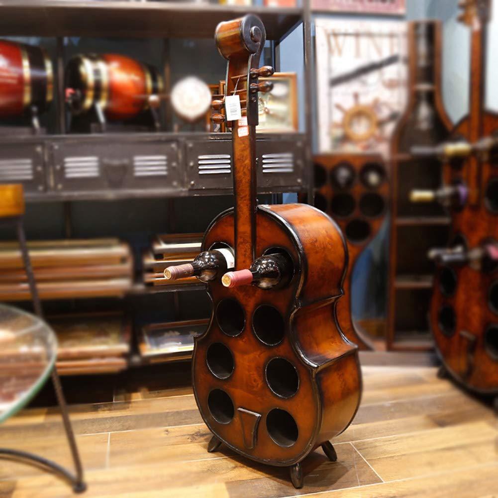 GRANDE a forma di violoncello in legno vino rack INDIPENDENTE LA MUSICA A TEMA Portabottiglie
