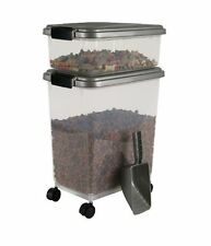 Pet Food Container Combo Kit Dog Cat Airtight Bin Storage Holder with Wheels