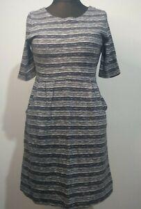 Ionen Goldregen Kleid dunkelblau mit Taschen Größe 12 weiß Streifen 100% Baumwolle