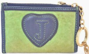 Image is loading Juicy-Couture-Blue-Leather-Green-Suede-Embroidered-Coin- 2110e34a3