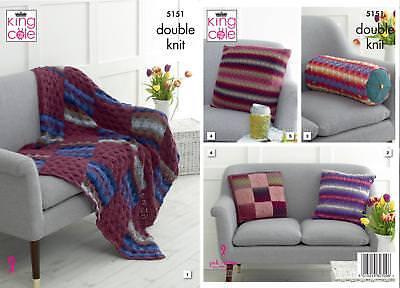 King Cole Interior Accessories Knitting Pattern Throw Cushions /& Mug Warmer 5151