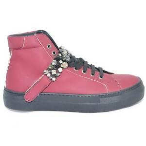 Sneakers alta in vera pelle gommata bordeaux e strappo con swarosky