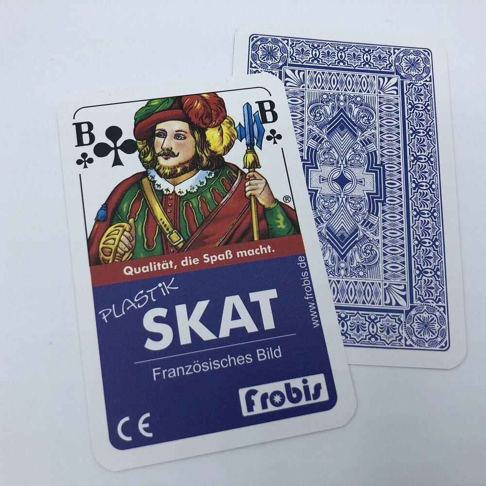 10 Skat Kartenspiele 100% Plastik Französisches Bild Spiele Spielkarten Frobis