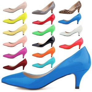 US-Women-Low-Mid-Heel-Pumps-Pointed-Toe-Kitten-Heel-Court-Office-Work-Shoes-Size