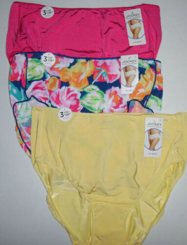 3 Jockey Hip Brief Panty Set 1372 No Line Tactel Yellow Dark Pink Flower 9 2XL