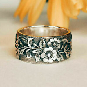 Vintage-Women-925-Silver-Handmade-Carved-Rose-Flower-Ring-Bride-Wedding-Jewelry