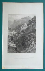 ITALY-La-Cava-Convent-of-Santa-Trinita-1833-Antique-Print-Engraving