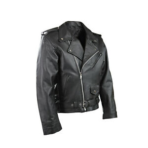Mens-P2-Motorcycle-Perfecto-Brando-Motorbiker-Leather-Jacket-Current-Style-Free