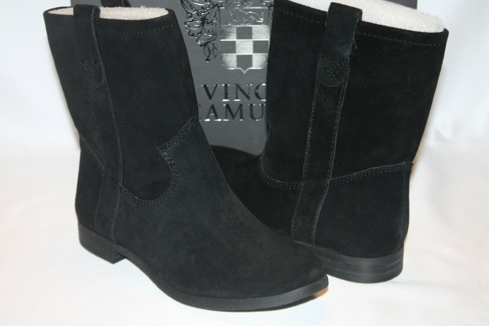 NEW NIB VINCE CAMUTO Black Suede Leather FANTI Pull On Slouch Ankle Boots Sz 6