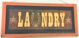 Laundry Room Country Western Wooden Wall Art Sign Horse Shoe stars
