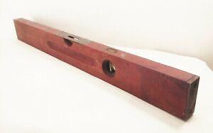 Vtg-antique-Stanley-wood-level-brass-ends-28-034-old-woodworking-carpentry-tool
